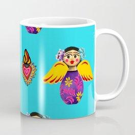 Angels and Hearts Turquoise Coffee Mug