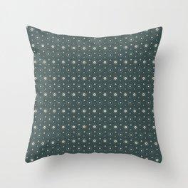 Circle Polka Dot Pattern 6, Night Watch, Alpaca Wool Cream and Scarborough Green Throw Pillow