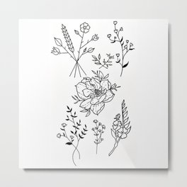 Magnolia Blooming with Wildflower Bouquets Illustration Metal Print