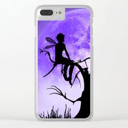 Moonlight Wondering Fairy - Purple Clear iPhone Case