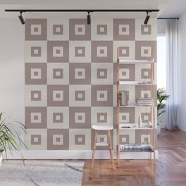 Retro Mid Century Modern Square Pattern Beige Wall Mural