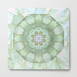 Soft Green Floral Kaleidoscope Metal Print
