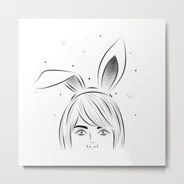 Woman with rabbit ears Metal Print