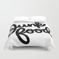 junk food Duvet Covers featuring Junk Food by mellanid