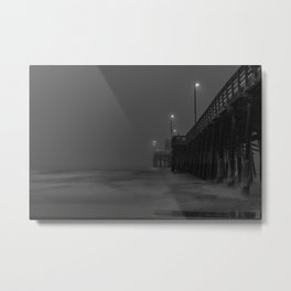 Grey Morning at Newport Pier Metal Print