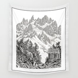 BEYOND MOUNT SHUKSAN BLACK AND WHITE VINTAGE PEN DRAWING Wall Tapestry