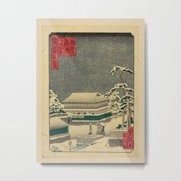 Utagawa Yoshitaki - 100 Views of Naniwa: Snow Scene at Night, Masui Uki (1880s) Metal Print