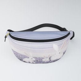 white rabbits and purple flowers Fanny Pack