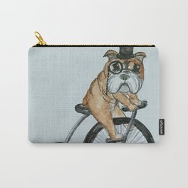 English Bulldog Riding a Penny-farthing Carry-All Pouch