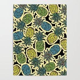Pineapple Pandemonium - Retro Tones Poster