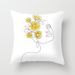 Mustard Bloom Girl Throw Pillow