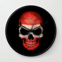 Dark Skull with Flag of Austria Wall Clock
