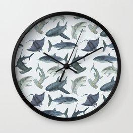 Sharks. Sea background Wall Clock
