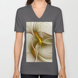 Abstract With Colors Of Precious Metals, Fractal Art Unisex V-Neck