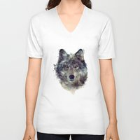 animals V-neck T-shirts featuring Wolf // Persevere  by Amy Hamilton