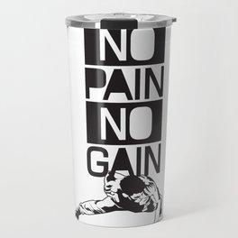 Gym Quote: No Pain No Gain. Workout Motivation, Push Up Man Travel Mug