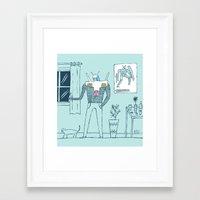 gundam Framed Art Prints featuring Gundam Fanboy by Nick Alston