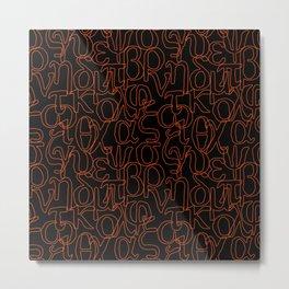 Greek Alphabet Small Letters Black Red Metal Print