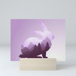 Rabbit Bunny Hare Double Exposure Surreal Wildlife Animal Mini Art Print