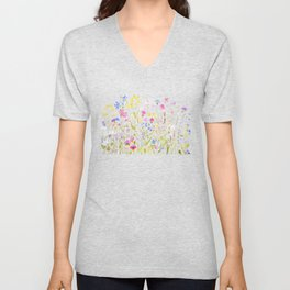 botanical colorful wildflower garden watercolor painting horizontal Unisex V-Neck