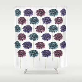 Colorful Carnation Flower Pattern Shower Curtain