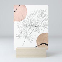 Blush Gold Pebbles 3 - Boho Line Art Drawing Abstract Minimal Lines Design Mini Art Print