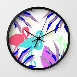 Flamingo Jungle Blues Wall Clock