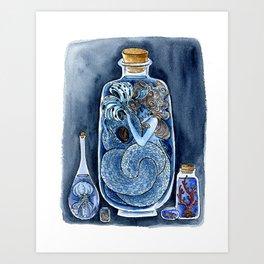 Mermaid in a Bottle Art Print