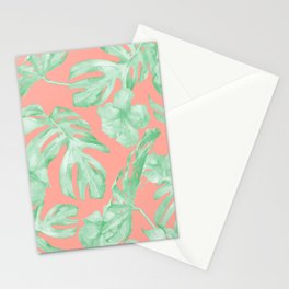 Tropical Palm Leaves Hibiscus Flowers Coral Green Stationery Cards