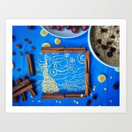 The Starry Night in oatmeal form Art Print