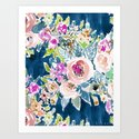 NAVY SO LUSCIOUS Colorful Watercolor Floral by barbraignatiev