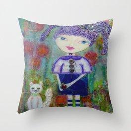 Viola & Lipstick - Whimsies of Light Children Series Throw Pillow
