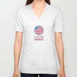 U.S.A Design Unisex V-Neck