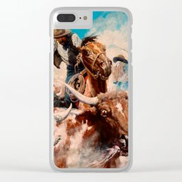 """N C Wyeth Vintage Western Painting """"Cutting Out"""" Clear iPhone Case"""