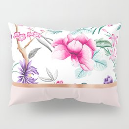 Chinoiserie pearl white floral & rose gold Pillow Sham