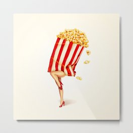 Popcorn Girl Metal Print
