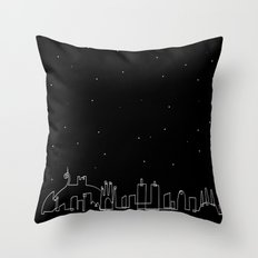 Barcelona skyline at night Throw Pillow