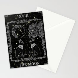 "Tarot ""The Moon"" - silver- cat version Stationery Cards"