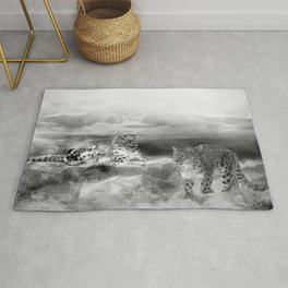 Snow Leopards In Peace Rug