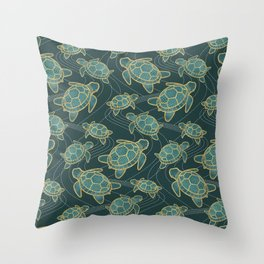 Japanese Pond Turtle / Teal Throw Pillow