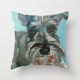 Schnauzer Dog Portrait Throw Pillow