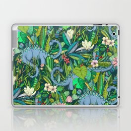 Improbable Botanical with Dinosaurs - dark green Laptop & iPad Skin
