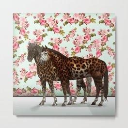 Leopard Horses Metal Print