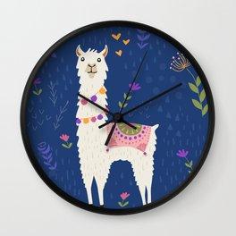 Llama on Blue Wall Clock