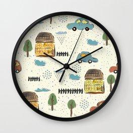 Seamless Pattern with Cute European Houses. Scandinavian Style. Wall Clock