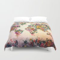 map of the world Duvet Covers featuring world map by Bekim ART