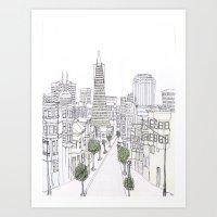 Pen + Ink SF City Scene Art Print