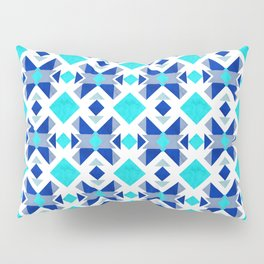Morrocan blue tiles with marble texture Pillow Sham