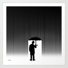 Charlie Chaplin Under The Rain Art Print