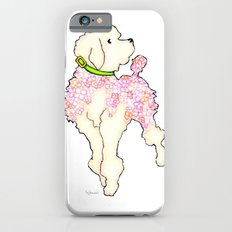 Pastel Pink Hydrangea Poodle with Bright Green Collar iPhone 6s Slim Case